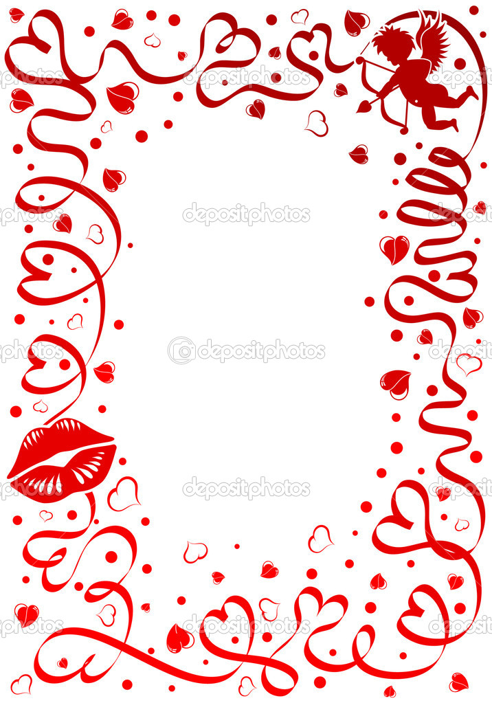 Valentines day theme with heart, ribbon and Cupid, element for design, vector illustration — Stock Vector #6942306