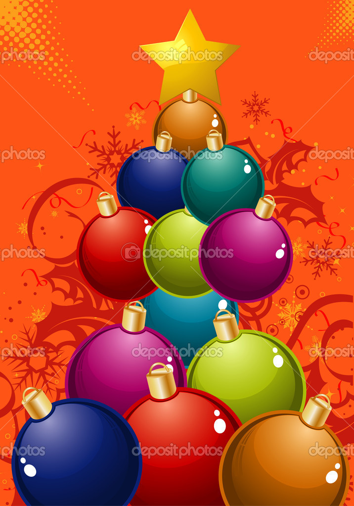 Christmas Tree of the balls, element for design, vector illustration — Stock Vector #6942421