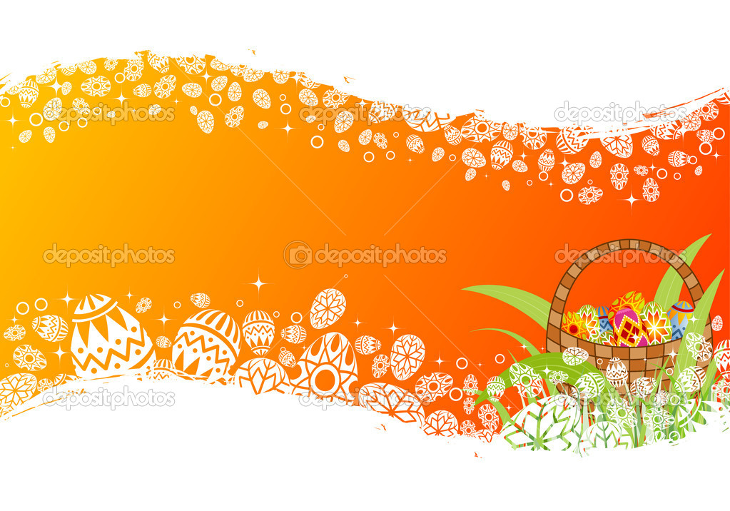 Easter frame with eggs in crib, element for design, vector illustration  Stock Vector #6943389
