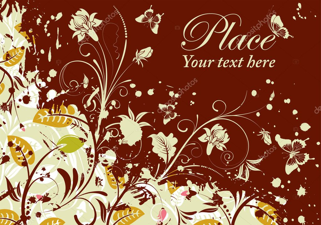 Grunge floral frame with butterfly, element for design, vector illustration — Stock Vector #6943414