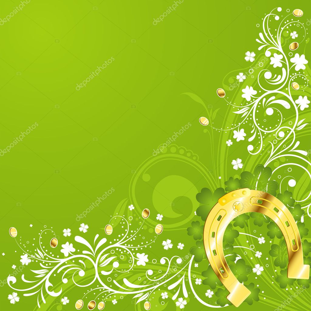 St. Patrick Day floral frame with horseshoe, vector illustration — Stock Vector #6943552