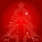 Christmas Tree from circuit board — Stock Vector