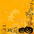 Floral Halloween background - Stock Vector