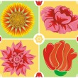 Stock Vector: Floral background, icon set, illustration