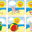 Icon Set Summer & Sun — Stock Vector