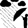 Stock Vector: Silhouette child with umbrella