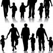 Vector silhouettes of parents with children — Stock Vector