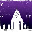 Vector silhouettes man and women on background night city — Stock Vector