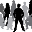 Vector silhouettes friends (man and women) — Stock Vector #7078321