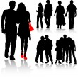 Vector silhouettes man and women, vector — Stock Vector