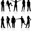Royalty-Free Stock Imagen vectorial: Silhouettes man and women