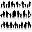 Collect family silhouettes — Stock Vector