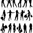 Royalty-Free Stock Vector Image: Vector silhouettes girls