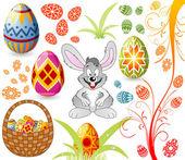 Ostern mit eiern, hasen und korb set — Stockvektor