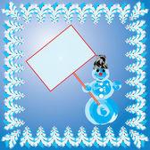 Uomo di neve sullo sfondo, vector — Vettoriale Stock