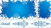 Snowflake grunge frame, elements for design, vector — Stock Vector