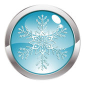 Glans knappen med snöflinga — Stockvektor