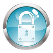 Gloss Button with Lock — Stock Vector