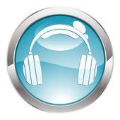 Glans knappen med hörlurar — Stockvektor