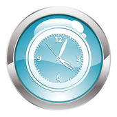 Gloss Button with Clock — Stock Vector