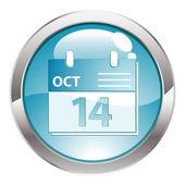 Glans knop met kalender — Stockvector