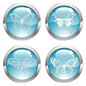 Gloss Button with Butterfly — Stock Vector