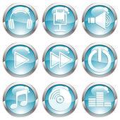 Set Music Gloss Button — Stock Vector