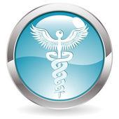 Botón de brillo con muestra médica — Vector de stock