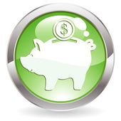 Glans knop met piggy bank — Stockvector