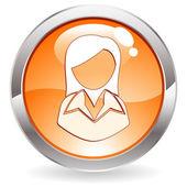 кнопка глянец с женщиной — Cтоковый вектор