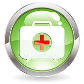 Gloss Button with First aid kit — Stock Vector