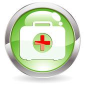 Botón de brillo con el kit de primeros auxilios — Vector de stock
