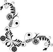 Element for design, corner flower, vector — Stock Vector