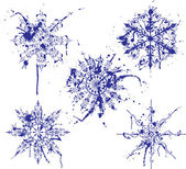Grunge paint snowflakes, elements for design, vector — Stock Vector
