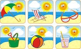 Icon Set Summer & Sun — Stok Vektör