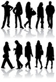 Vector silhouettes man and women — Stock Vector