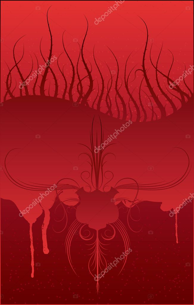 Abstract background with blood and burr, vector illustration — Stock Vector #7075752