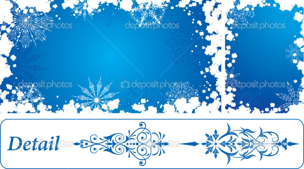 Snowflake grunge frame, elements for design, vector illustration — Stock Vector #7076984