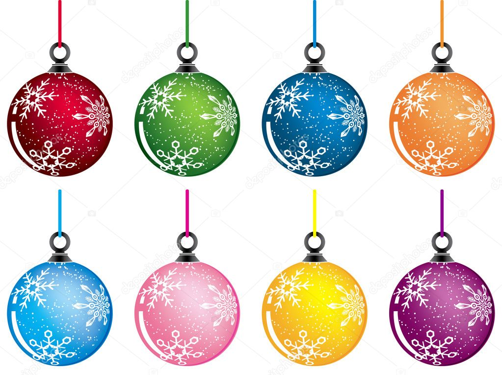 Christmas baubles, variants color, vector illustration — Stock Vector #7077935