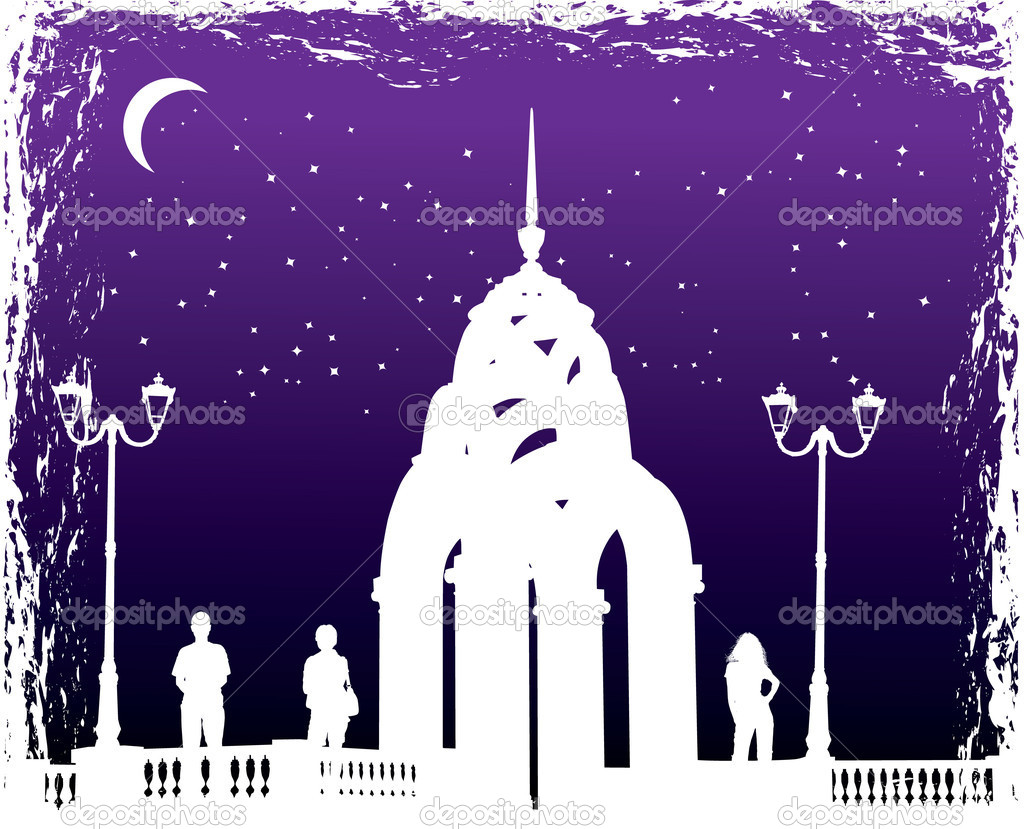 Vector silhouettes man and women on background night city, illustration, ALL OBJECT ISOLATED — Stock Vector #7078304