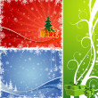 Three Christmas background with Christmas tree & gift - Stok Vektör