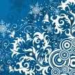 Floral background with snowflake - Stock Vector