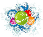 Christmas vector background with baubles — Stock Vector