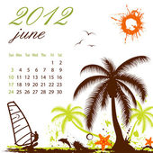 Calendar for 2012 June — Stock Vector