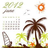Calendar for 2012 June — Stock Vector