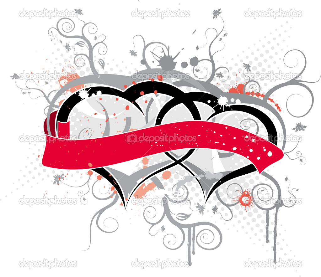 Valentines frame with ribbon, vector illustration — Stock Vector #7266725