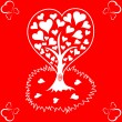 Valentines Day background with tree and hearts — Stock Vector