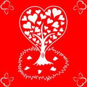De dag van valentijnskaarten achtergrond met boom en harten — Stockvector