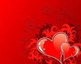 Valentin fond avec coeurs et fleurs — Vecteur
