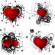 Valentines Day background with hearts and flower - Imagen vectorial